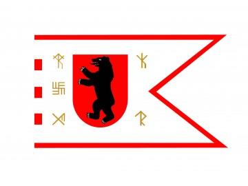 Žemaitijos vėliava su runomis (meška su  antkakliu)